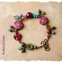Bohemian Jewelry, Handcrafted Rustic Glass and Stone Cluster Bracelet, Boho Gypsy Cowgirl, bohostyleme, Kaye Kraus
