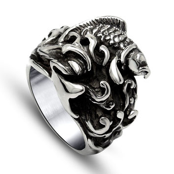 New Arrival Gift Jewelry Shiny Stylish Accessory Titanium Vintage Relief Sculpture A4 Size Ring [6544882691]