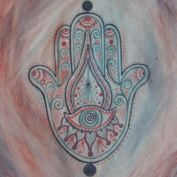 Hamsa Painting - Original Art - Giclee Print - Spiritual art - Jewish art - Islamic Art - Evil eye painting - The Hand of Fatima