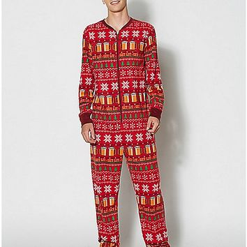 Adult Holiday Get Lit Footie Pajamas - Spencer's
