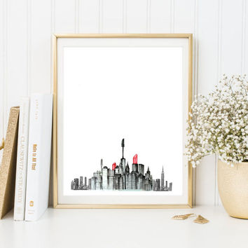 makeup lipstick city mascara shoes Typographic Print drawing art gift decor heart  framed quotes bedroom poster tumblr room decor fashion