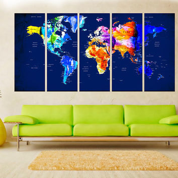 Push pin world map canvas print, navy blue world map, extra large wall art, watercolor abstract wall art, prints world map No:hr5