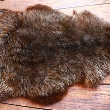 Beautiful, Natural, Unique Sheepskin Rug, Pelt, soft, thick fur xxl Extra Large - brown