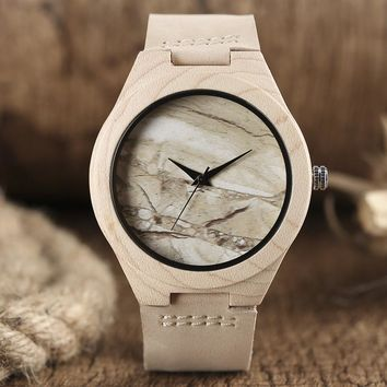 Marble Pattern Face Art Wooden Watch Minimalist Analog Style Natural Bamboo Clock Men and Women Quartz Sport