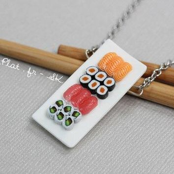 Miniature Sushi Necklace   Miniature Food Jewelry   Sushi Collection