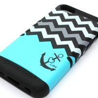 Wireless Fones Heavy Duty Hybrid Case for Iphone 5C- Hard & Soft Rubber Blue Block Chevron Love Anchor With Screen Protector,Wristband & Media Display Kickstand