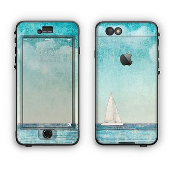 The Faded WaterColor Sail Boat Apple iPhone 6 LifeProof Nuud Case Skin Set