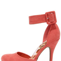 Tall In All Coral Suede Platform Ankle Strap Heels