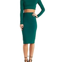 LONG SLEEVE CROP TOP & MIDI SKIRT HOOK-UP