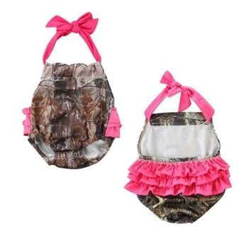 Camo & Pink Backless Romper