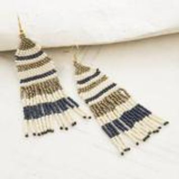 Seed Bead Earring with Fringe- Navy, Ivory, and Gold