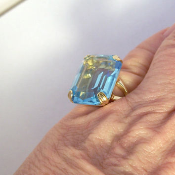 Vintage Blue Topaz Ring Signed Vargas,Blue Topaz Gold Filled Ring,Faux Blue Topaz Ring,Costume Blue Ring,Ring Size 5.5,Dinner Ring,Vargas