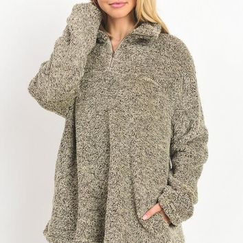 Olive Green Fuzzy Pullover Sweater