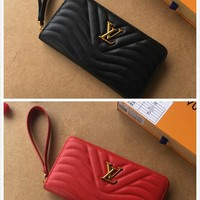 LV Louis Vuitton WOMEN'S LEATHER NEW WAVE ZIPPER WALLET