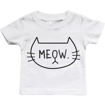 Graphic Snap-on Style Baby Tee, Infant Tee - MEOW