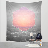 The Sun Is But A Morning Star (Mono Geometric Sunrise) Wall Tapestry by Soaring Anchor Designs
