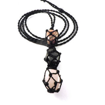 Self-love necklace, hematite pendant, macrame necklace, rhodonite choker, unique jewels, rose quartz necklace, healing jewel, wrapmeacrystal