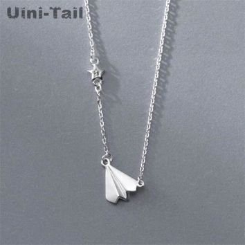Uini-Tail new hot 925 sterling silver childhood paper airplane necklace female Korean simple temperament hipster jewelry GN574