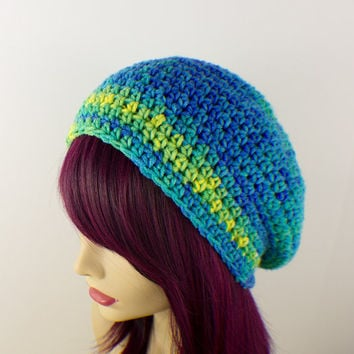 Sea Foam Multi Colored Crochet Beanie