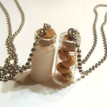 Milk & Cookies Necklace Set, Polymer Clay, Glass Bottles with Cork Best Friends Jewelry