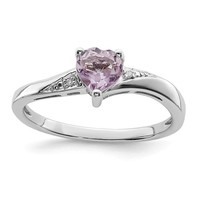 Sterling Silver Purple Quartz Rose De France Amethyst Heart and Diamond Ring