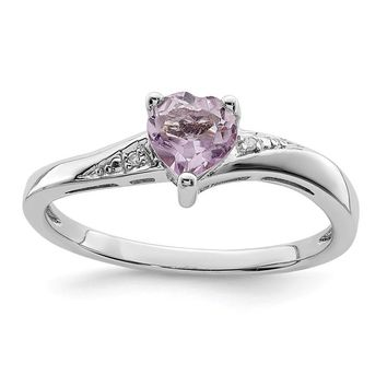 Sterling Silver Purple Quartz Rose De FranceAmethyst Heart and Diamond Ring