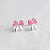 Lovely pink bowknot 925 sterling silver earrings, a perfect gift