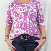 Charter Club XL sz Top Womens Purple White Knit Easy Wear Floral Sweater Shirt