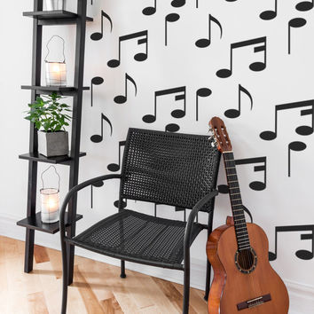 Wall Decal Music Notes Musician Band Theory Concert Rock Star Dorm Decor Note