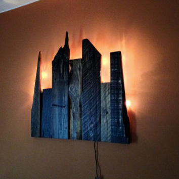 Wooden City Skyline with backlights