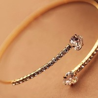 Heart Meets Heart Rhinestone Bangle (Adjustable Band)
