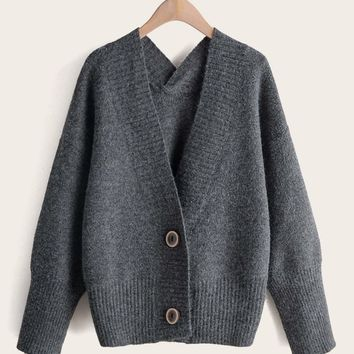 Space Dye Double Button Sweater Coat