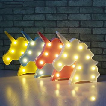 2017 Unicorn Party Lamp LED Table Night Light Marquee Fairy Outdoor Garland Christmas Home Decoration 3D Desk Lamp Kids Gift