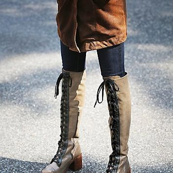 Jeffrey Campbell + Free People Womens Geron Lace Up Boot - Taupe /