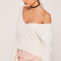 Missguided - Fluffy Tab Back Cropped Jumper White