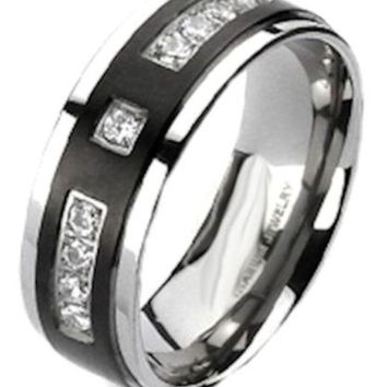 Men's Black Titanium Cz Wedding Band Wedding Ring (BLKT)
