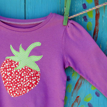 Strawberry Appliqued Tshirt 24 month/2T HandDyed by OddEDesigns
