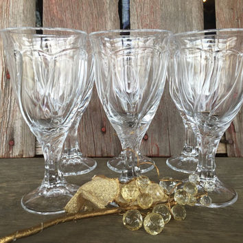 6 Vintage Noritake Crystal Sweet Swirl CLEAR water goblets glasses, wedding toasting glasses, vintage crystal goblets, Replacement glasses