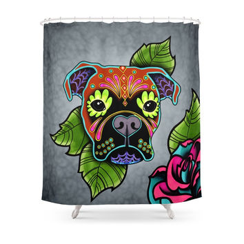 Society6 Day Of The Dead Boxer Sugar Skull Dog Shower Curtains