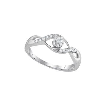 10kt White Gold Womens Round Diamond Twist Flower Cluster Ring 1/8 Cttw