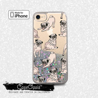 Pug Pattern Dog Puppy Funny Doggy New Liquid Glitter Sparkle Case for iPhone 6 and 6s iPhone 6 Plus and 6s Plus iPhone 7 and iPhone 7 Plus