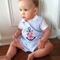 Blue Seersucker Stripe Baby Boys Jon Jon/Shortall, Anchor Design with Circle Monogram, Also available in a Bubble