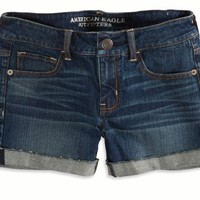 AEO 's Factory Cuffed Denim Midi Short (Dark Wash)