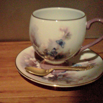 Lena Liu  - Blossoms and Butterflies - Tea cup and Saucer - Gifts - Telefloral - collectibles - vintage - home decor-  spring-cottage chic-