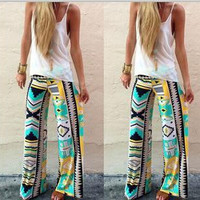 Palazzo pants Female Flare Boho Elastic High Waist Pants Wide Leg Pants Trouser