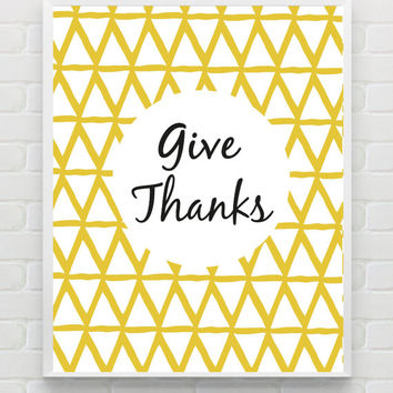 8x10 Give Thanks Art Print, PRINTABLE Thankful Quotes, Geometric Wall Art, Triangle Art, Give Thanks Printable, Bohemian Thanksgiving Decor