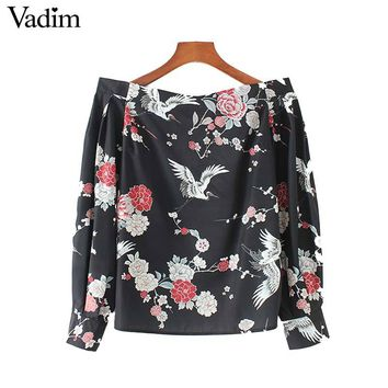 Vadim women vintage Crane floral pattern shirt elastic slash neck sweet long sleeve blouse ladies fashion tops blusas LT2636