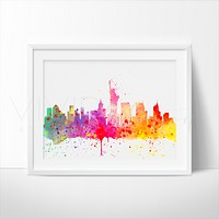 New York City Skyline 2 Watercolor Art Print