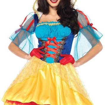 Poisoned Princess Yellow Blue Red Satin Sheer Glitter Mesh Lace Elbow Sleeve Lace Up Flare A Line High Low Mini Dress Halloween Costume