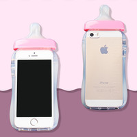 Soft Silicone TPU Cover Transparent 3D Rubber Baby Nipple Milk Bottle Feeding Clear Case For Iphone 5 5s SE Pink